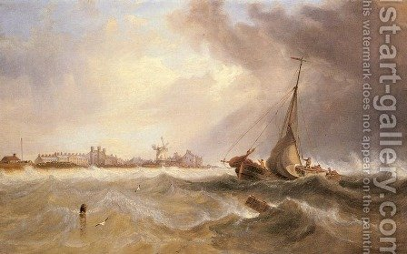 Shipping off a Coast in Choppy Seas by James Wilson Carmichael - Reproduction Oil Painting