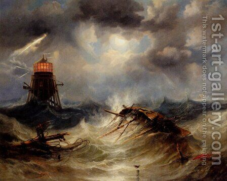 The Irwin Lighthouse, Storm Raging by James Wilson Carmichael - Reproduction Oil Painting
