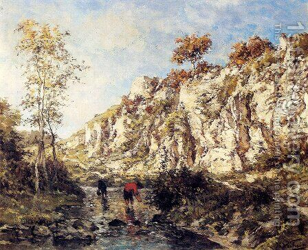 Figures In A Rocky Stream by Isidore Verheyden - Reproduction Oil Painting