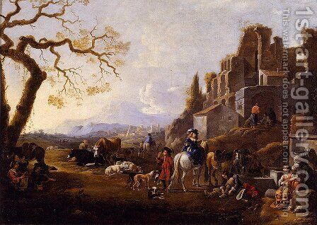 Landscape With Figures by Anthonie Goubau - Reproduction Oil Painting