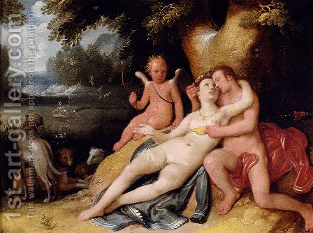 Venis And Adonis With Cupid In A Landscape by Cornelis Cornelisz Van Haarlem - Reproduction Oil Painting