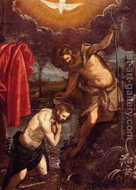 The Baptism Of Christ by Domenico Tintoretto (Robusti) - Reproduction Oil Painting