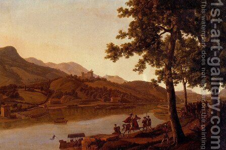 Nobles Disembarking Along The Banks Of A River by Alexandre-Louis-Robert-Millin Duperreux - Reproduction Oil Painting