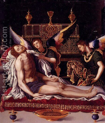 Dead Christ Attended By Two Angels by Alessandro Allori - Reproduction Oil Painting