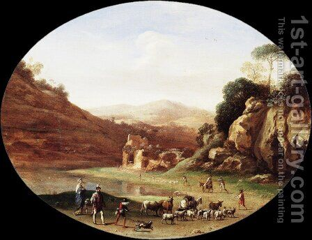 Valley with Ruins and Figures by Cornelis Van Poelenburgh - Reproduction Oil Painting