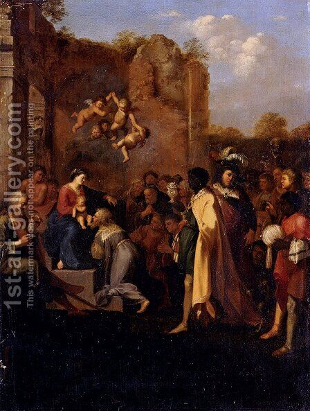 Adoration Of The Magi by Cornelis Van Poelenburgh - Reproduction Oil Painting