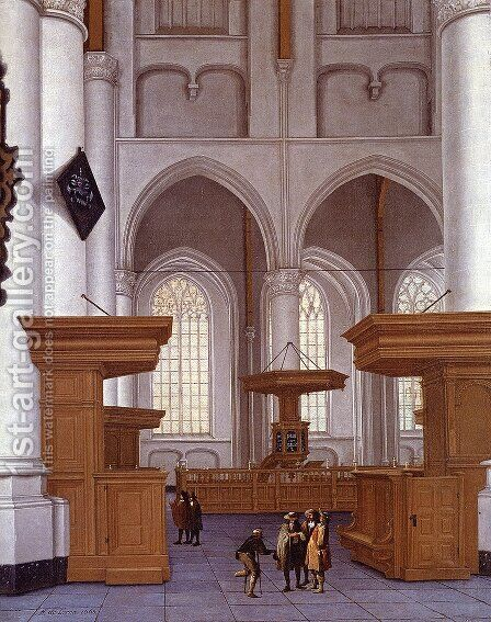 Interior Of The Laurenskerk, Rotterdam, View To The South by Anthonie De Lorme - Reproduction Oil Painting