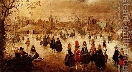 Winter Landscape With Skaters On A Frozen River by Adam van Breen - Reproduction Oil Painting