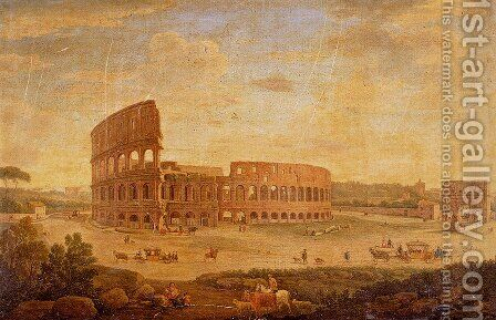 View Of The Colosseum And The Arch Of Constantine, Rome by Hendrik Frans Van Lint - Reproduction Oil Painting