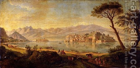 View Of Lake Maggiore With The Isola Bella by Caspar Andriaans Van Wittel - Reproduction Oil Painting