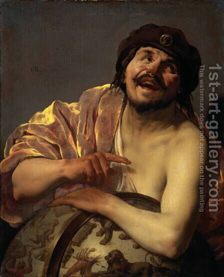 Democritus [detail #1] by Hendrick Terbrugghen - Reproduction Oil Painting
