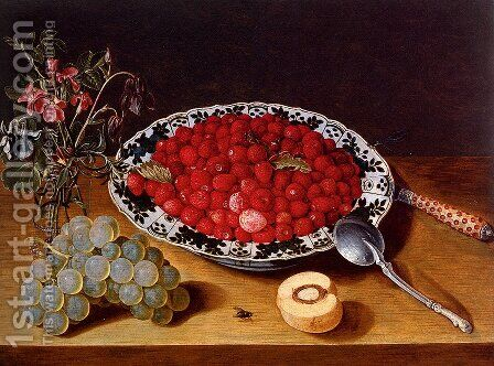 Wild Strawberries In A Wan-Li Kraak Porcelan Bowl With A vase Of Flowers And A Bunch Of Grapes, All Resting On A Wooden Ledge by Isaak Soreau - Reproduction Oil Painting