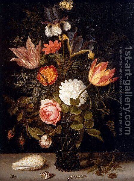 Still Life Of Roses, Tulips, Irises, An African Marigold And Other Flowers In A Roemer Resting On A Ledge, With Two Shells, A Butterfly And Other Insects by Balthasar Van Der Ast - Reproduction Oil Painting