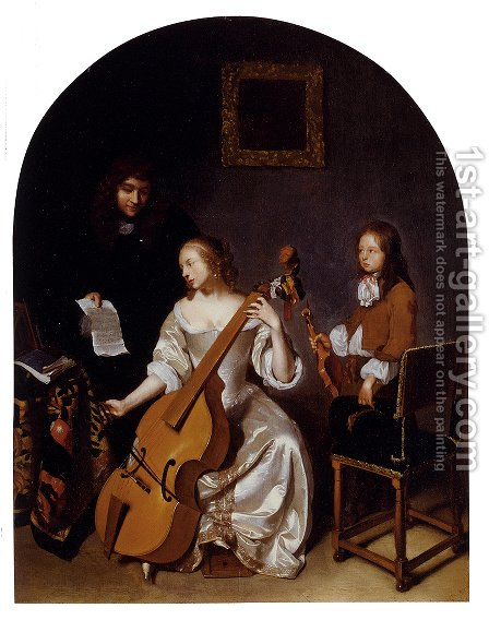 The Music Lesson by Caspar Netscher - Reproduction Oil Painting