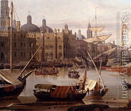 A Capriccio Of The Grand Canal, Venice - detail by Abraham Jansz Storck - Reproduction Oil Painting