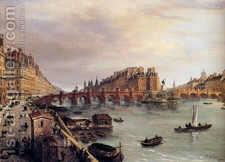 Paris With A View Of The Pont Neuf by Domenico Ferri - Reproduction Oil Painting