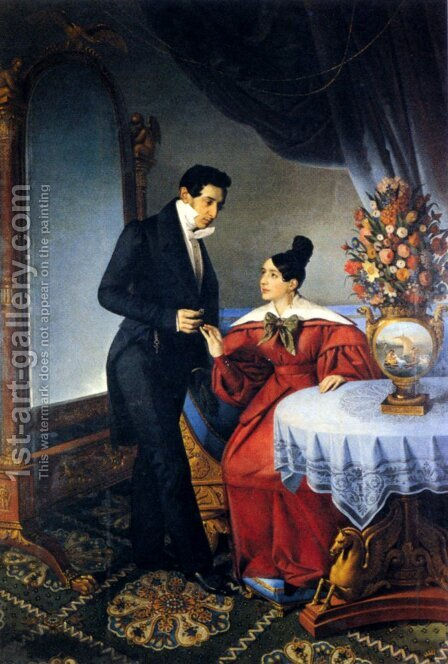 The Engaged Couple by Giuseppe Tominz - Reproduction Oil Painting