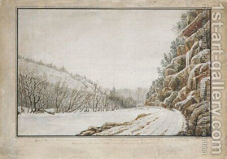 View on the New Turnpike Road, on the Margin of the Juniata, with a Distant View of the Warrior Mountain by Benjamin Henry Latrobe - Reproduction Oil Painting