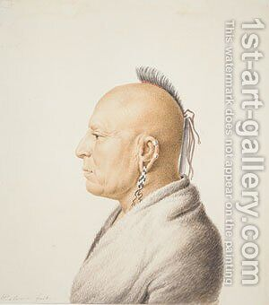 Osage Warrior by Charles Balthazar J. F. Saint-Memin - Reproduction Oil Painting