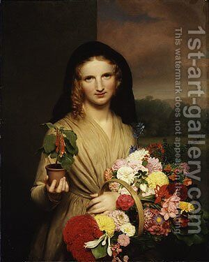 The Flower Girl by Charles Cromwell Ingham - Reproduction Oil Painting