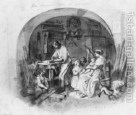 Interior Setting: Carpenter at Work with Family (from Cropsey Album) by Constant Mayer - Reproduction Oil Painting