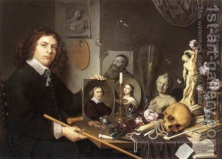Self-portrait With Vanitas Symbols by Giovanni Baglione - Reproduction Oil Painting