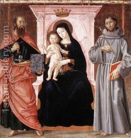 Madonna Enthroned with the Infant Christ and Saints by Antoniazzo Romano - Reproduction Oil Painting