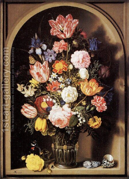 Vase of Flowers by Ambrosius the Elder Bosschaert - Reproduction Oil Painting