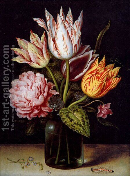 A Still Life With A Bouquet Of Tulips, A Rose, Clover And A Cylclamen In A Green Glass Bottle by Ambrosius the Elder Bosschaert - Reproduction Oil Painting