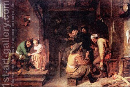 Tavern Scene by Adriaen Brouwer - Reproduction Oil Painting