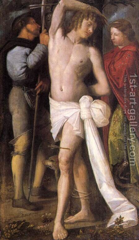 St Sebastian between St Roch and St Margaret by Cariani - Reproduction Oil Painting