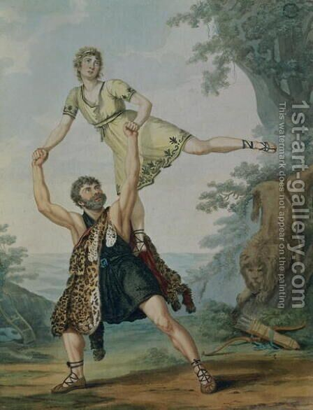 Madame Deshayes and James Harvey d'Egville (c.1770-1836) in the Ballet-Pantomime 'Hercules and Deianeira', pub. 1804 by Antoine Cardon - Reproduction Oil Painting