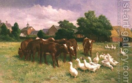 Cows and Ducks by Claude Cardon - Reproduction Oil Painting