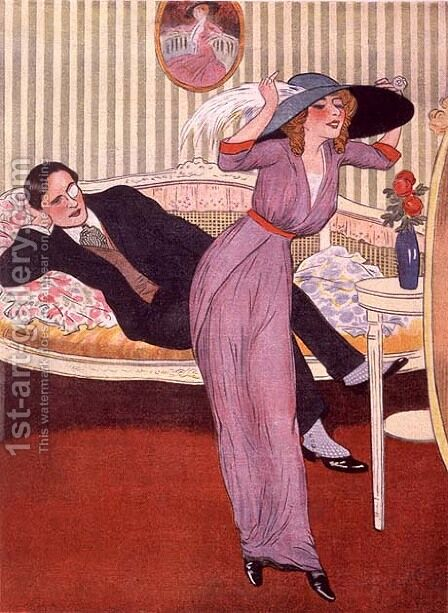 Conjugal compliments, from 'Le Rire' c.1910 by Alfredo Opisso Cardona - Reproduction Oil Painting