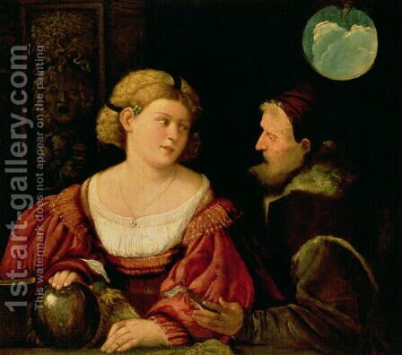 Seduction (Allegory of Youth and Age) c.1515 by Cariani - Reproduction Oil Painting