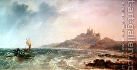 Bamburgh Castle by James Wilson Carmichael - Reproduction Oil Painting