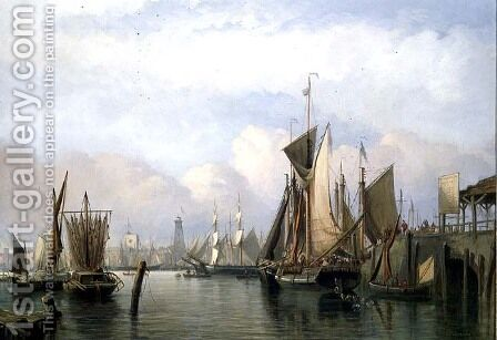 Billingsgate Wharf, 1852 by James Wilson Carmichael - Reproduction Oil Painting