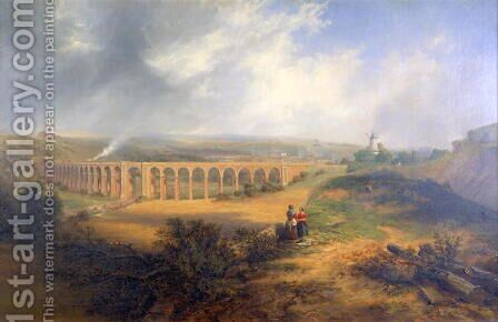 Rastrick's viaduct, London Road, Brighton by James Wilson Carmichael - Reproduction Oil Painting