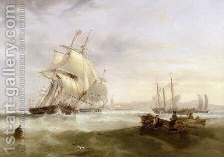 Shipping off Hartlepool by James Wilson Carmichael - Reproduction Oil Painting