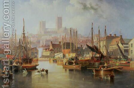 The Brayford Pool and Lincoln Cathedral by James Wilson Carmichael - Reproduction Oil Painting