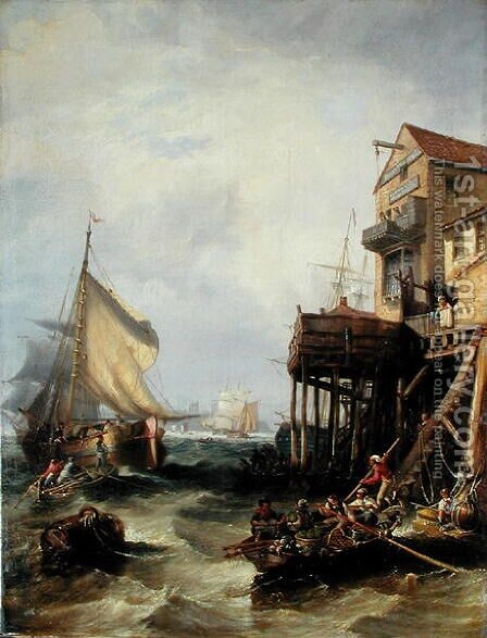 The Custom House, 1838 by James Wilson Carmichael - Reproduction Oil Painting