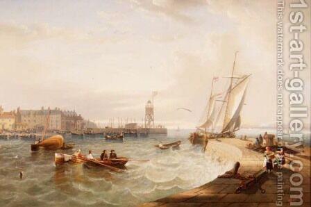 The Harbour at Hartlepool by James Wilson Carmichael - Reproduction Oil Painting