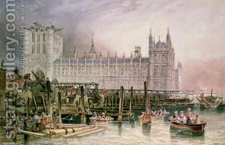 The Houses of Parliament in Course of Erection by James Wilson Carmichael - Reproduction Oil Painting