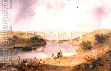Victoria Bridge over the River Wear by James Wilson Carmichael - Reproduction Oil Painting