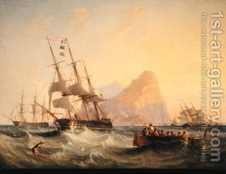 Warships Under Sail at Gibraltar, 1855 by James Wilson Carmichael - Reproduction Oil Painting