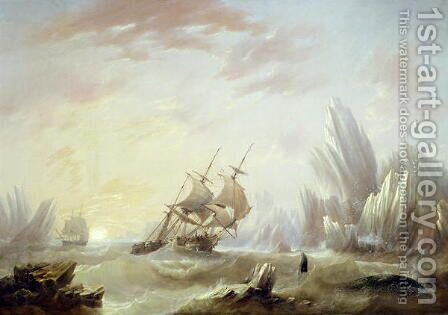 Whale Fishing in a Polar Sea, 1845 by James Wilson Carmichael - Reproduction Oil Painting