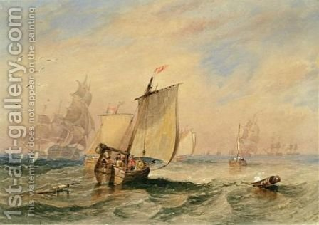 Shipping in choppy seas 1838 by James Wilson Carmichael - Reproduction Oil Painting