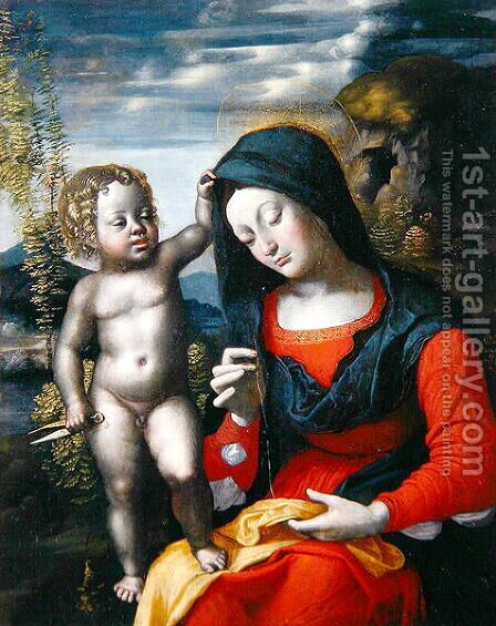 The Madonna Sewing by Giovanni Francesco Caroto - Reproduction Oil Painting