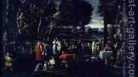 Fete Champetre or, Fete Milanese, c.1584 by Agostino Carracci - Reproduction Oil Painting