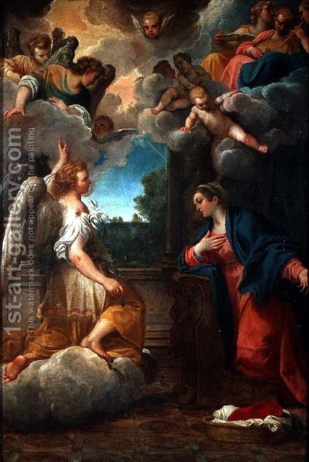 The Annunciation by Agostino Carracci - Reproduction Oil Painting